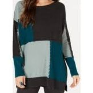 Patch Colorblocked Oversized Tunic Sweater